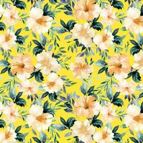 "4"" Peach Summer Florals - Bright Yellow"