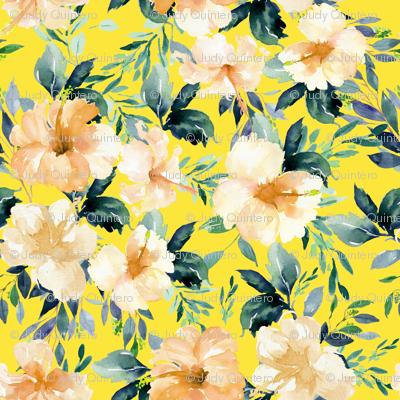 "8"" Peach Summer Florals - Bright Yellow"