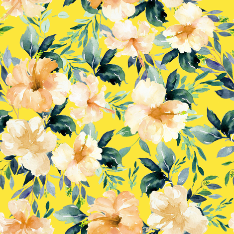 "8"" Peach Summer Florals - Bright Yellow fabric by shopcabin on Spoonflower - custom fabric"