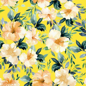 "10.5"" Peach Summer Florals - Bright Yellow"