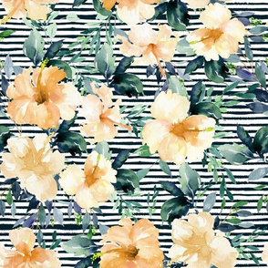 "10.5"" Peach Summer Florals - Dark Green Stripes"