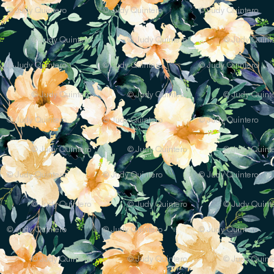"10.5"" Peach Summer Florals - Deep Dark Green"