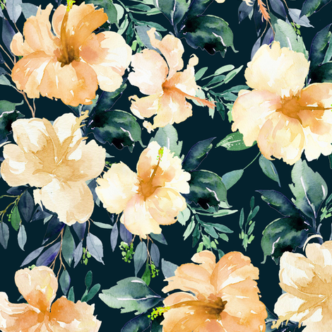 "10.5"" Peach Summer Florals - Deep Dark Green fabric by shopcabin on Spoonflower - custom fabric"