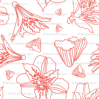 Pink Outlined Lily Shapes - Pattern