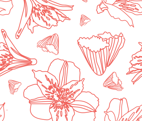 Pink Outlined Lily Shapes - Pattern fabric by benjiloudesigns on Spoonflower - custom fabric