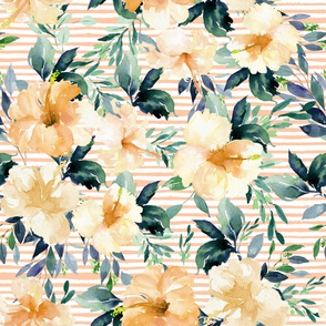 "36"" Peach Summer Florals - Peach Stripes"
