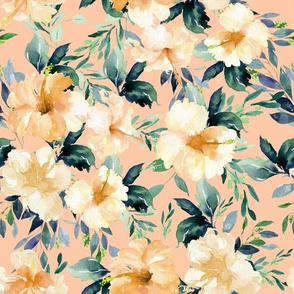 "10.5"" Peach Summer Florals - Peach"