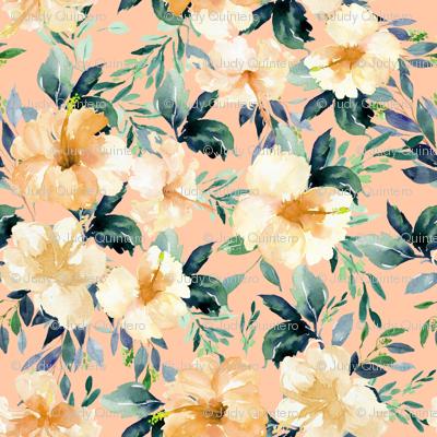 """36"""" Peach Summer Florals - Peach"""