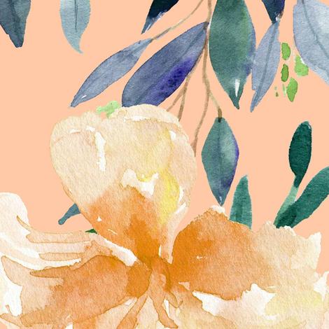 "36"" Peach Summer Florals - Peach fabric by shopcabin on Spoonflower - custom fabric"