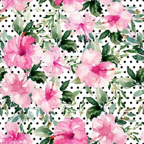 "8"" Pink Summer Florals - Black Polka Dots"