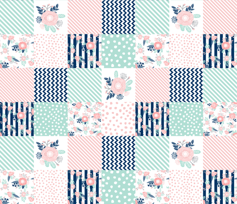 cheater quilt (rotated) fabric girls fabric pink mint and navy floral cheater fabric fabric by charlottewinter on Spoonflower - custom fabric
