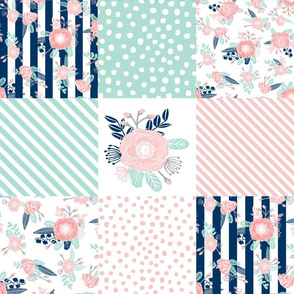 cheater quilt (rotated) fabric girls fabric pink mint and navy floral cheater fabric