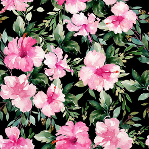 "36"" Pink Summer Florals - Black"