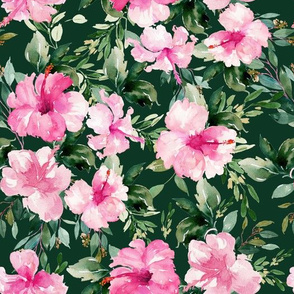 "10.5"" Pink Summer Florals - Dark Green"