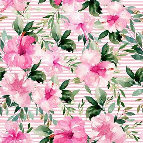 "8"" Pink Summer Florals - Dark Pink Stripes"