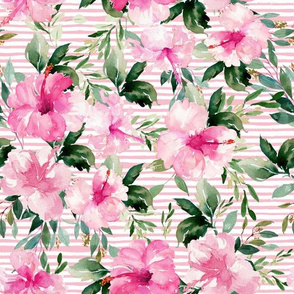 "10.5"" Pink Summer Florals - Dark Pink Stripes"