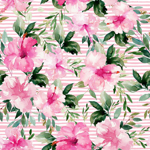 "36"" Pink Summer Florals - Dark Pink Stripes"