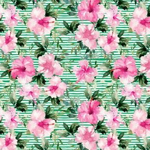 "4"" Pink Summer Florals - Green Stripes"