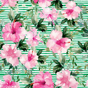 "36"" Pink Summer Florals - Green Stripes"
