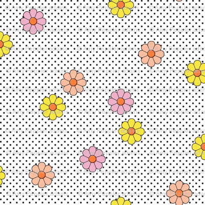 Meadow* (White) || flower flowers floral daisy daisies polka dots 70s retro vintage