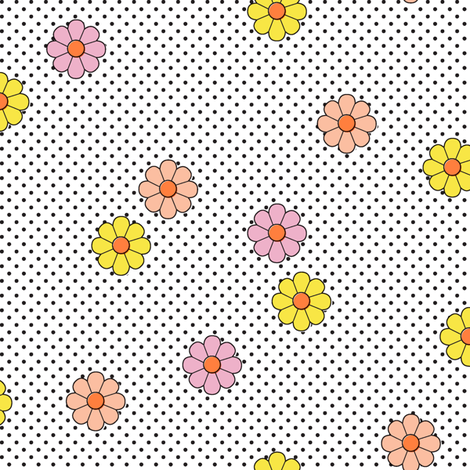 Meadow* (White) || flower flowers floral daisy daisies polka dots 70s retro vintage fabric by pennycandy on Spoonflower - custom fabric