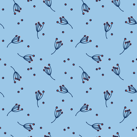 berry bits // light blue // in bloom collection fabric by modeern on Spoonflower - custom fabric