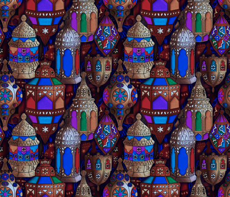 Lanterns of souk by night fabric by leventetladiscorde on Spoonflower - custom fabric