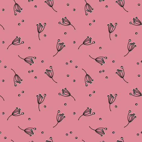 berry bits // pink // in bloom collection fabric by modeern on Spoonflower - custom fabric
