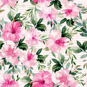 "8"" Pink Summer Florals - Pink Stripes"