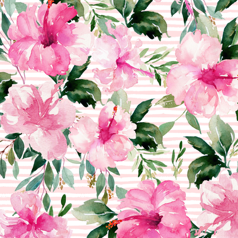 "10.5"" Pink Summer Florals - Pink Stripes fabric by shopcabin on Spoonflower - custom fabric"