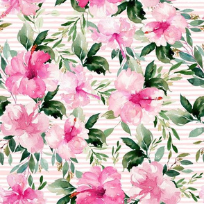 "10.5"" Pink Summer Florals - Pink Stripes"