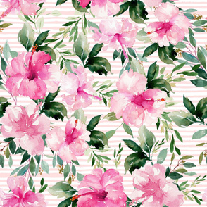 "36"" Pink Summer Florals - Pink Stripes"