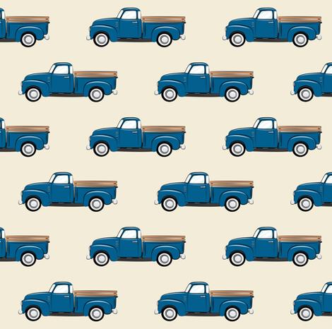 vintage blue truck on dark cream fabric by littlearrowdesign on Spoonflower - custom fabric