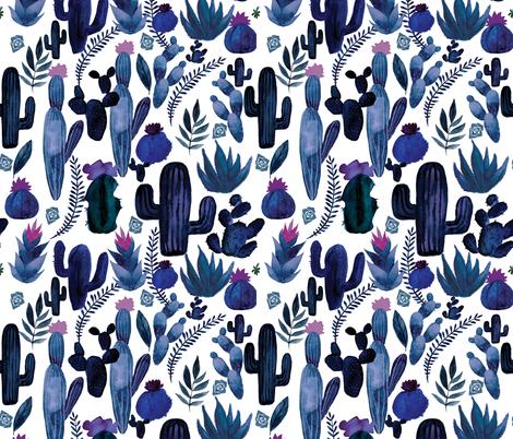 Indigo Cactus on White fabric by saguaro_market on Spoonflower - custom fabric