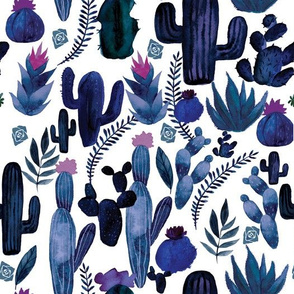 Indigo Cactus on White