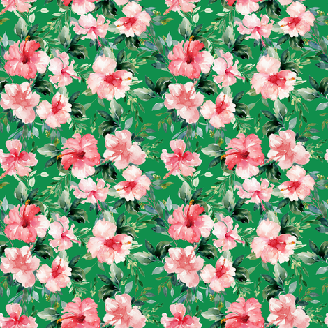 """4"""" Summer Florals - Bright Green fabric by shopcabin on Spoonflower - custom fabric"""