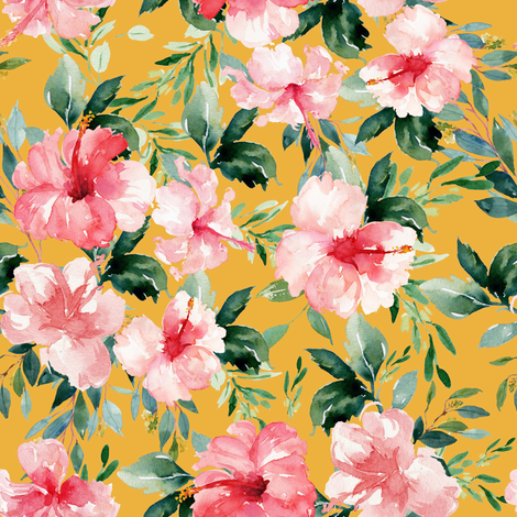 "8"" Summer Florals - Mustard fabric by shopcabin on Spoonflower - custom fabric"