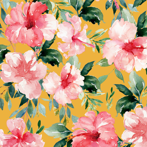 "10.5"" Summer Florals - Mustard fabric by shopcabin on Spoonflower - custom fabric"