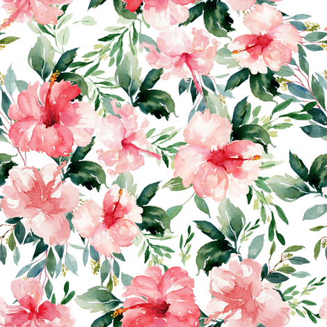 "8"" Summer Florals - White fabric by shopcabin on Spoonflower - custom fabric"