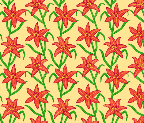 Orange Daylily on Yellow fabric by always_june on Spoonflower - custom fabric