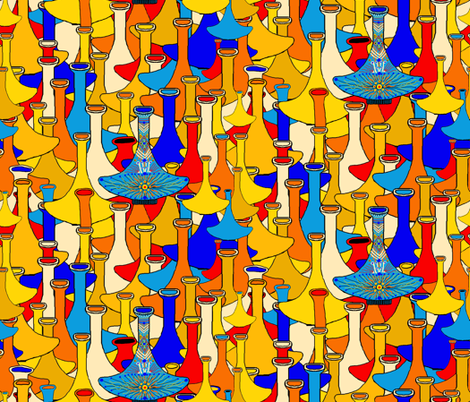 North African moroccan marrakesh hookah vases, large scale, blue yellow orange red fabric by amy_g on Spoonflower - custom fabric