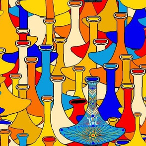 North African moroccan marrakesh hookah vases, large scale, blue yellow orange red