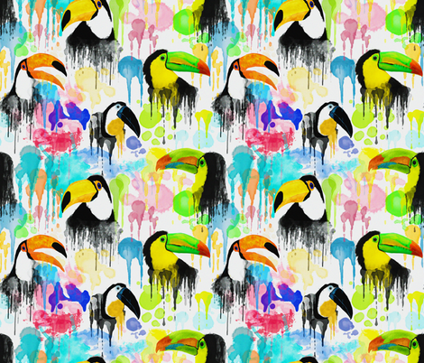 TOUCAN WATERCOLOR fabric by bluevelvet on Spoonflower - custom fabric