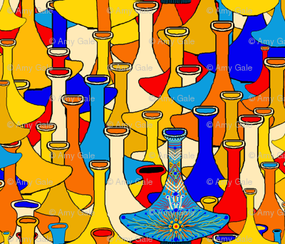 North African moroccan marrakesh hookah vases, small scale, blue yellow orange red