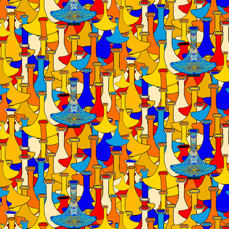 North African moroccan marrakesh hookah vases, small scale, blue yellow orange red fabric by amy_g on Spoonflower - custom fabric