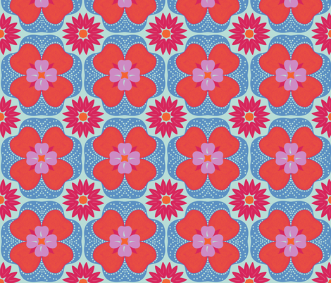 Moroccan Floral Tile fabric by craftsturbator_ on Spoonflower - custom fabric
