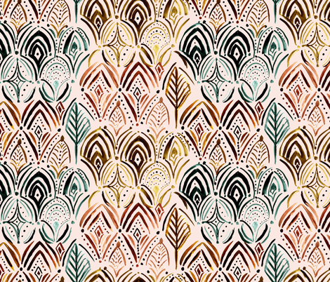 Boho Feather medallion Vintage fabric by crystal_walen on Spoonflower - custom fabric