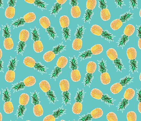 Tropical Pineapple - Turquoise fabric by heatherhightdesign on Spoonflower - custom fabric