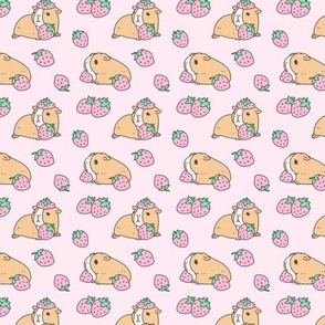 Soft pink Guinea pig and strawberries pattern