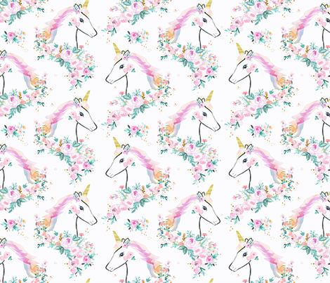 sweet unicorn floral-rainbow fabric by crystal_walen on Spoonflower - custom fabric
